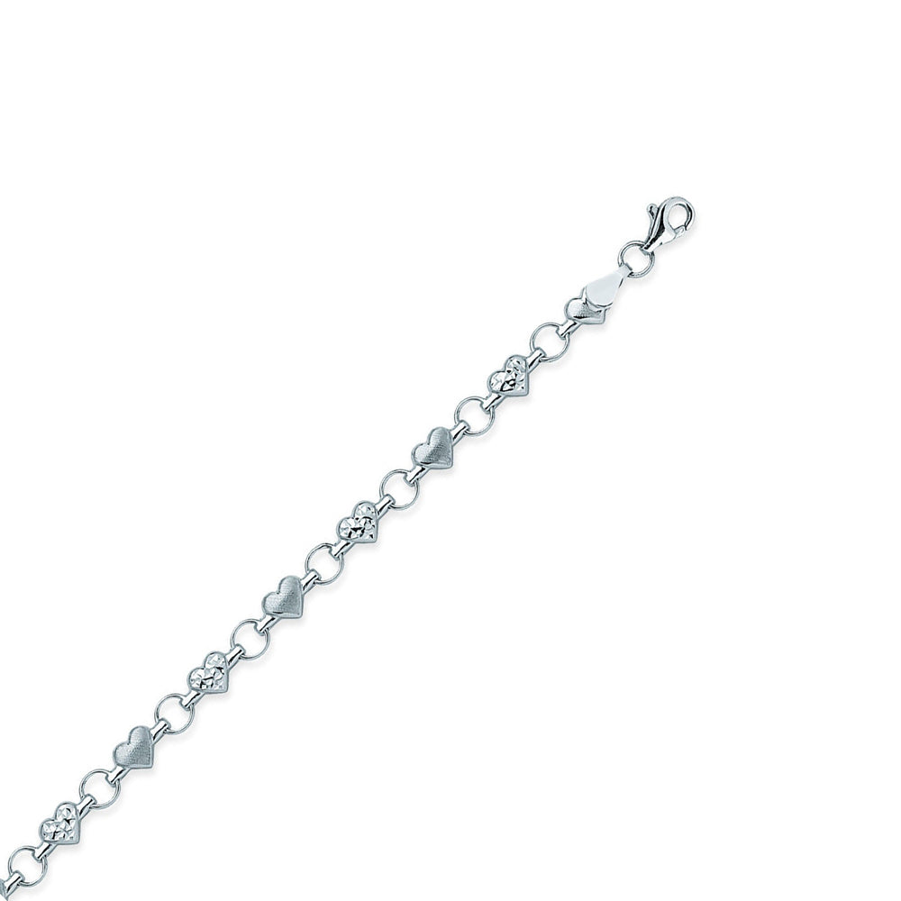 "14K Two Tone Gold Diamond Cut Heart Anklet 10"" length"