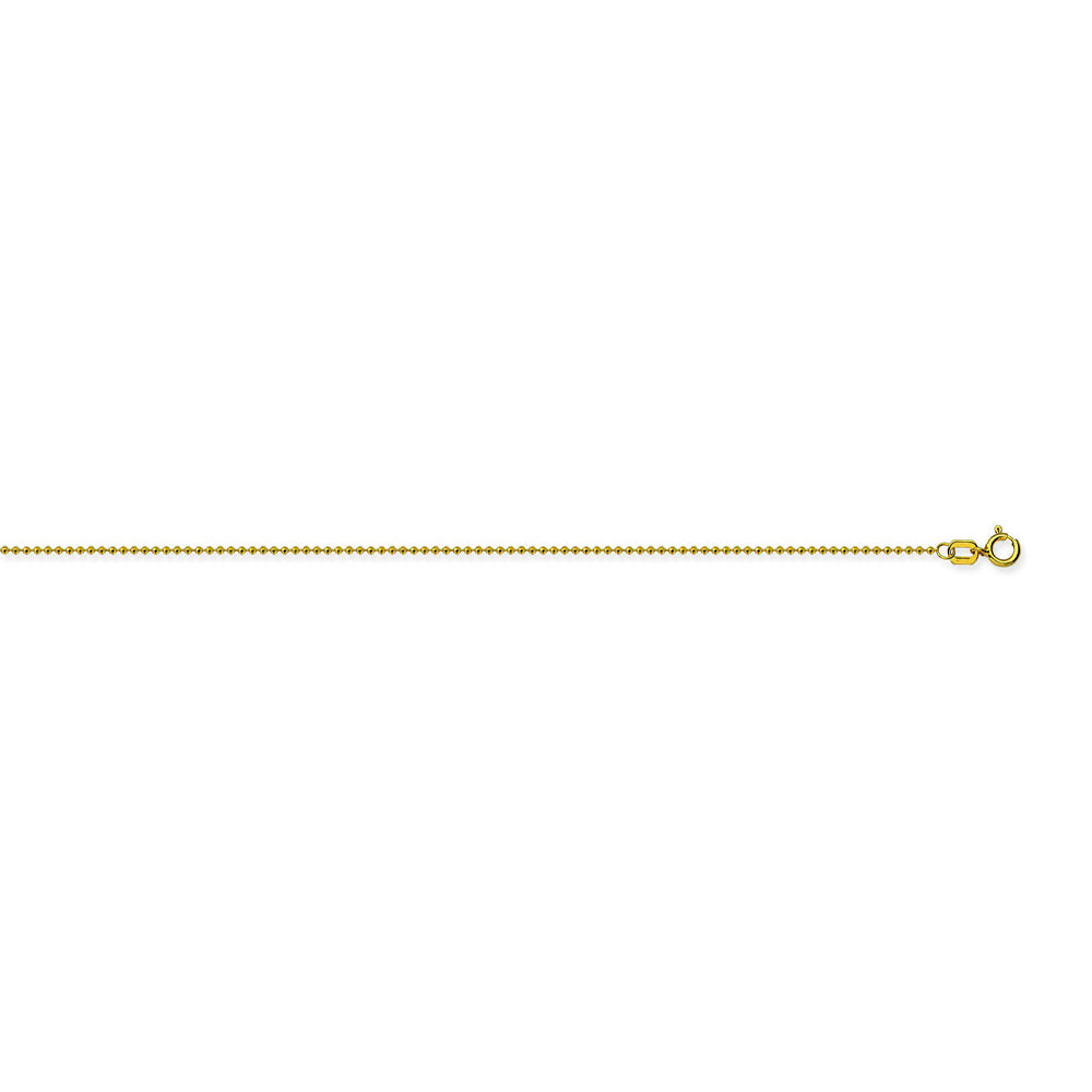 14K Yellow Gold 0.8 Diamond Cut Bead Chain in 16 inch, 18 inch, & 20 inch