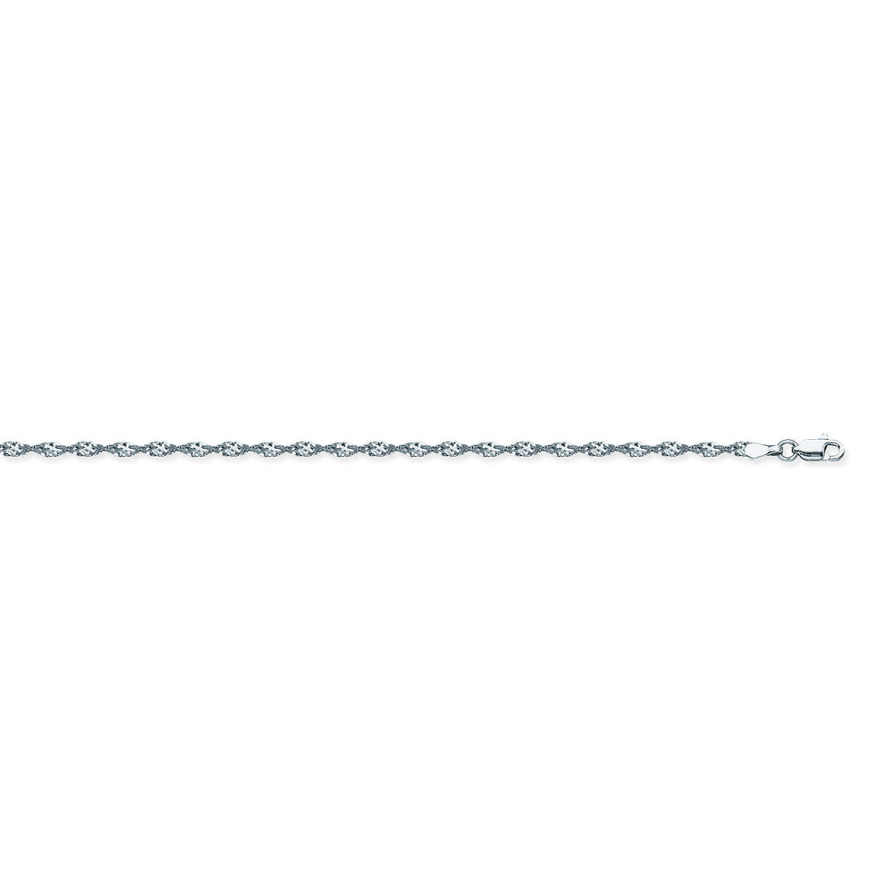 14K White Gold 2.1 Dorica Chain in 16 inch, 18 inch, 20 inch, & 24 inch