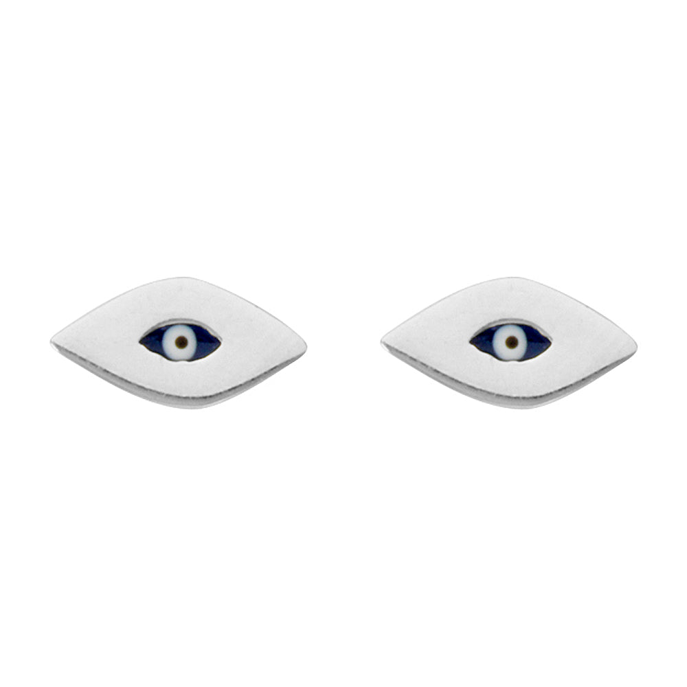 14K White Gold Evil Eye Earring