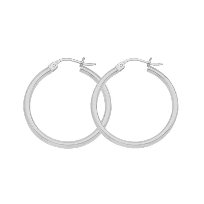 "10K White Gold 2 mm Polished Round Hoop Earrings 0.6"" Diameter"