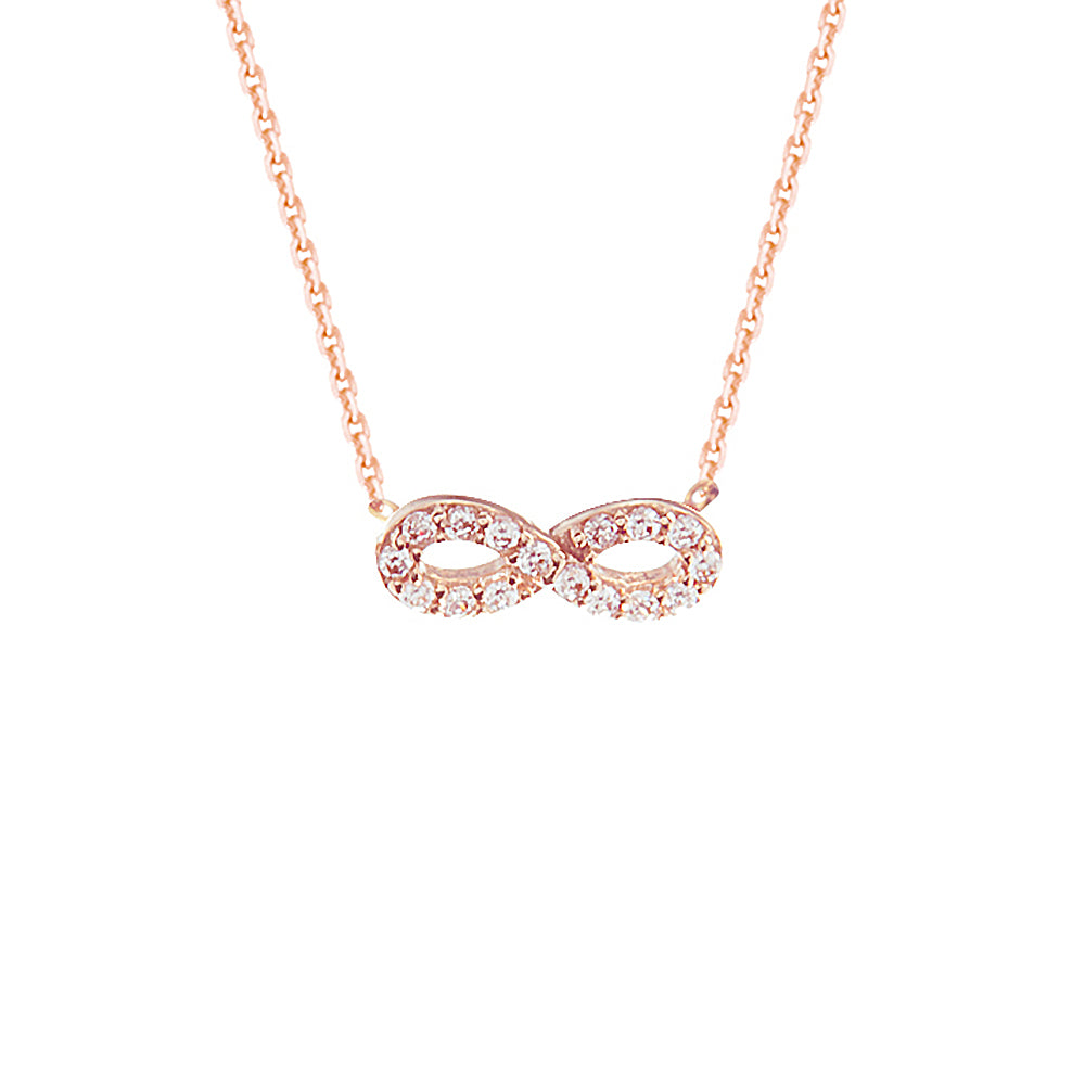 "14K Rose Gold Cubic Zirconia Infinity Necklace. Adjustable Diamond Cut Cable Chain 16"" to 18"""