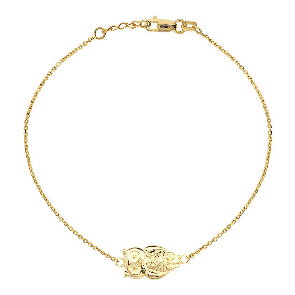 "14K Yellow Gold Sideways Owl Bracelet. Adjustable Cable Chain 7"" to 7.50"""