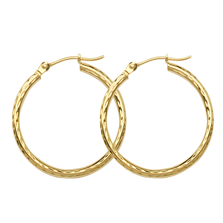 "10K Yellow Gold 2 mm Diamond Cut Hoop Earrings 0.8"" Diameter"