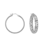 "925 White Sterling Silver 4 mm Inside & Outside Diamond Cut Hoop Earrings 0.8"" Diameter"