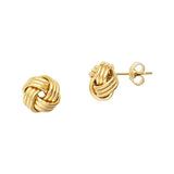 14K Yellow Gold Plain High Polish Tripple Tube Medium Love Knot Earring