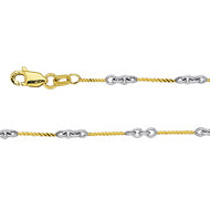 14K Two Tone Gold Designer Twist Chain in 16 inch, 18 inch, & 20 inch