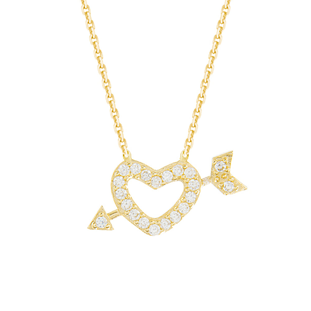 "14K Yellow Gold Heart & Arrow Necklace. Adjustable Diamond Cut Cable Chain 16"" to 18"""