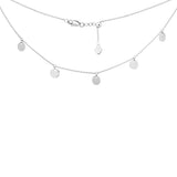 "14K White Gold 5 Spaced Shiny Dangeling Disks Charms Choker Necklace. Adjustable 10""-16"""