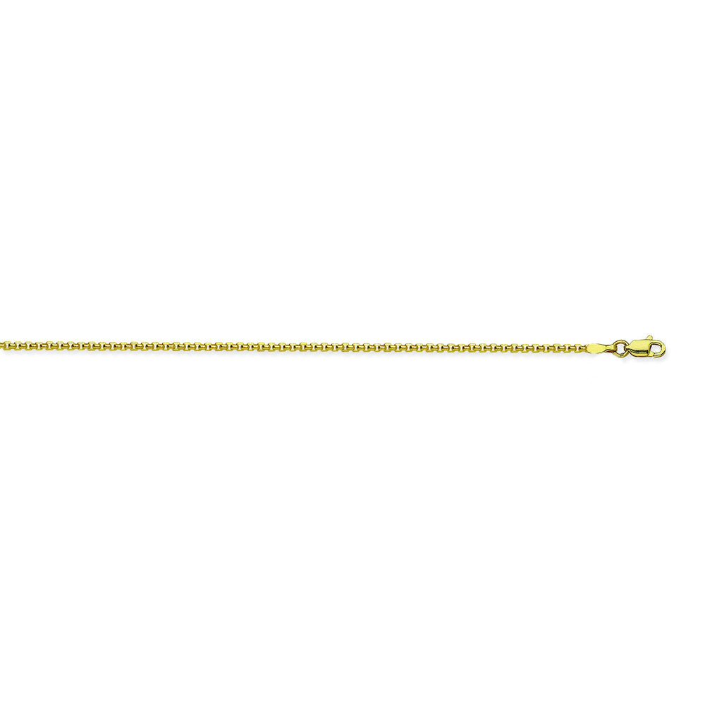 14K Yellow Gold 1.8 Round Box Chain in 16 inch, 18 inch, 20 inch, & 24 inch