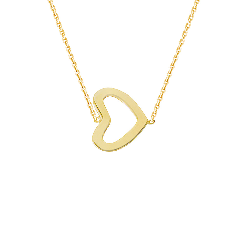 "14K Yellow Gold Sideways Heart Necklace. Adjustable Diamond Cut Cable Chain 16"" to 18"""