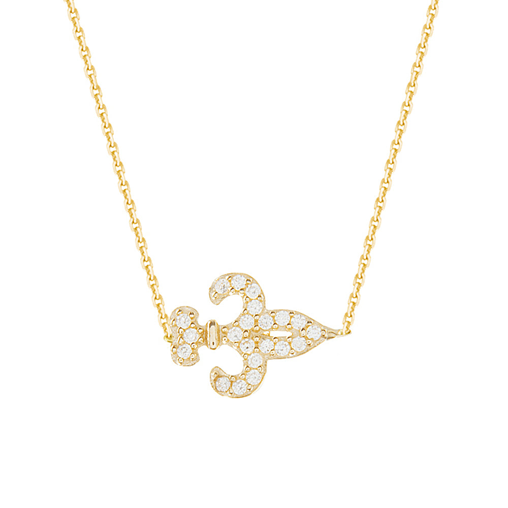 "14K Yellow Gold Cubic Zirconia Fleur De Lis Necklace. Adjustable Diamond Cut Cable Chain 16"" to 18"""