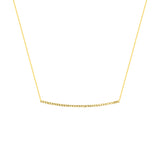 14K Yellow Gold Diamond Cut Bar Necklace. Adjustable Cable Chain 16