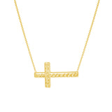 "14K Yellow Gold Diamond Cut Sideways Cross Necklace. Adjustable Cable Chain 16"" to 18"""