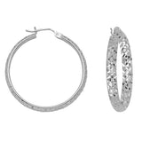 "14K White Gold 3 mm Diamond Cut Hoop Earrings 1.2"" Diameter"