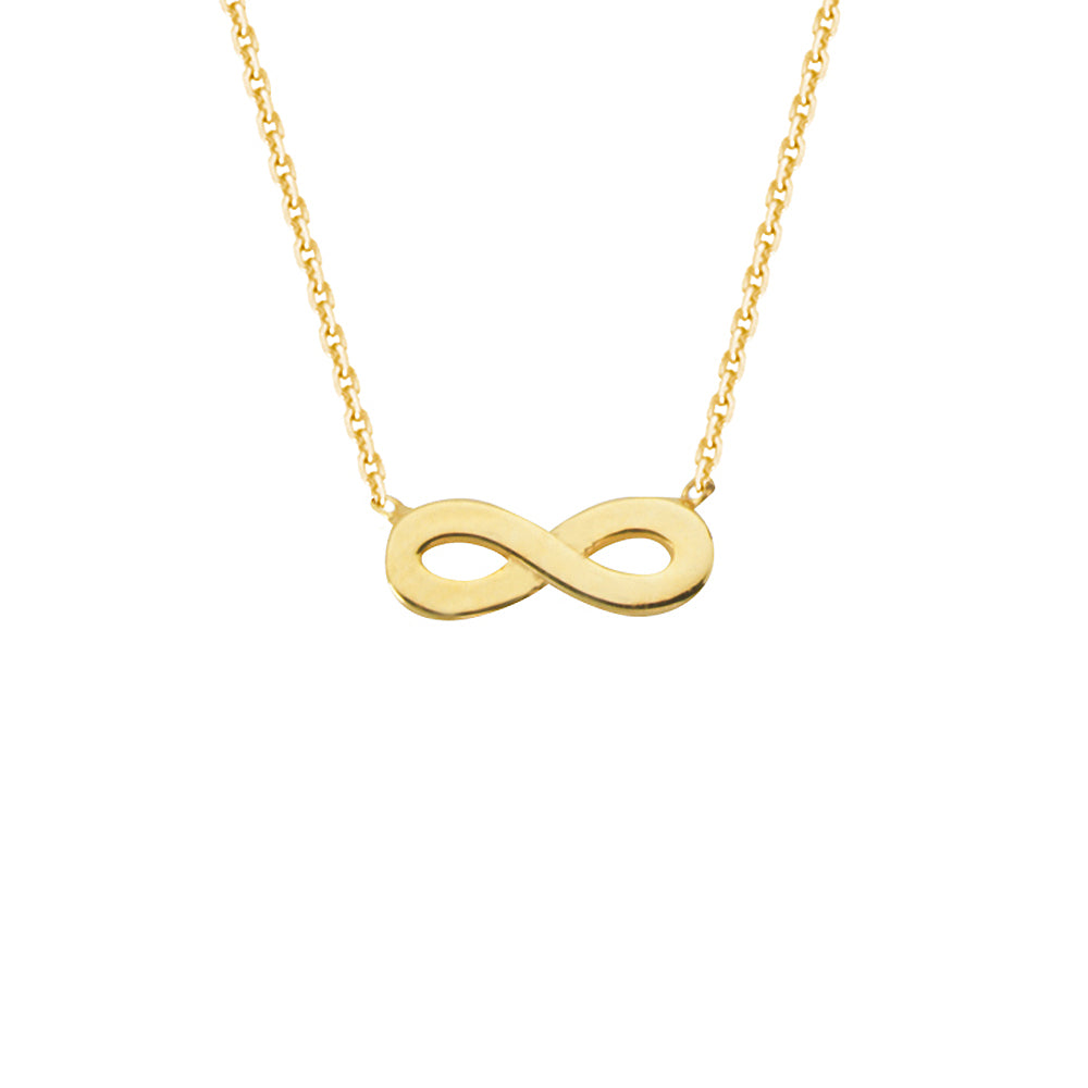 "14K Yellow Gold Infinity Necklace. Adjustable Diamond Cut Cable Chain 16"" to 18"""