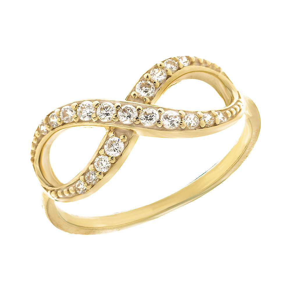 14K Yellow Gold Infinity Cubic Zirconia Ring