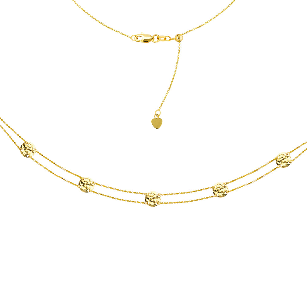 "14K Yellow Gold Double Strand 5 Hammered Disks Choker Necklace. Adjustable 10""-16"""