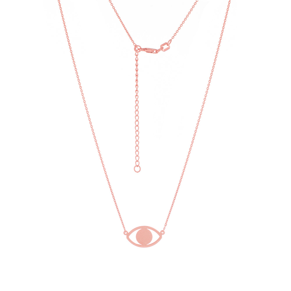 "14K Rose Gold Evil Eye Necklace. Adjustable Diamond Cut Cable Chain 16"" to 18"""