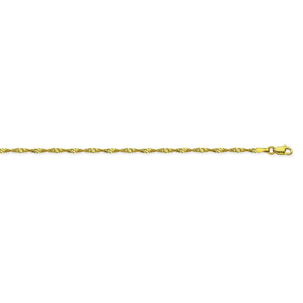 14K Yellow Gold 1.7 Singapore Chain in 16 inch, 18 inch, 20 inch, & 24 inch