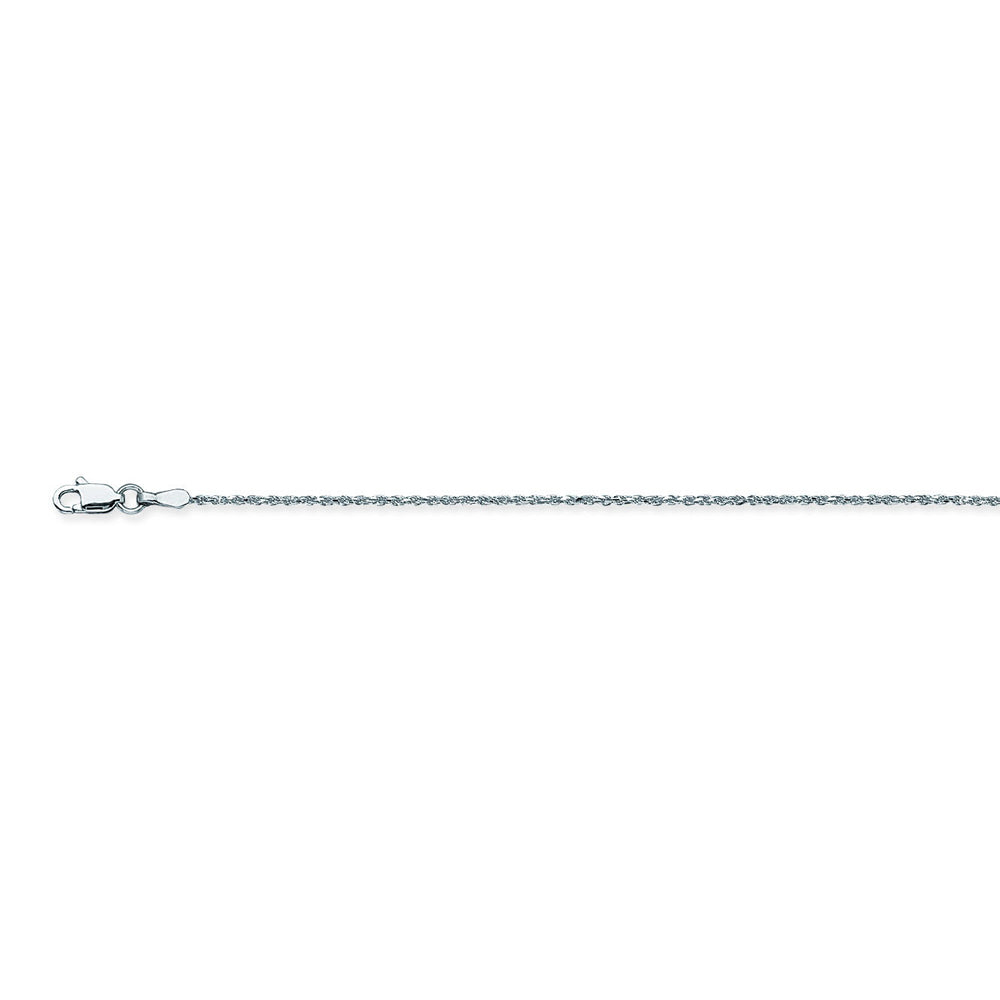 10K White Gold 1.05 Diamond Cut Rope Chain in 16 inch, & 18 inch