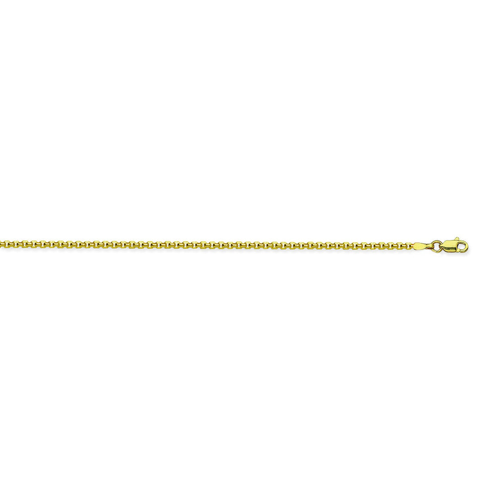 14K Yellow Gold 2.8 Round Box Chain in 16 inch, 18 inch, 20 inch, 24 inch, & 30 inch