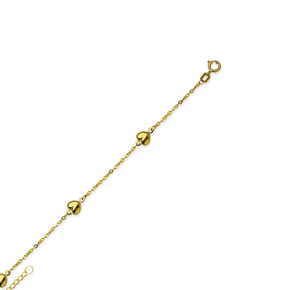 "14K Yellow Gold Puffed Heart Anklet Adjustable 9"" to 10"" length"