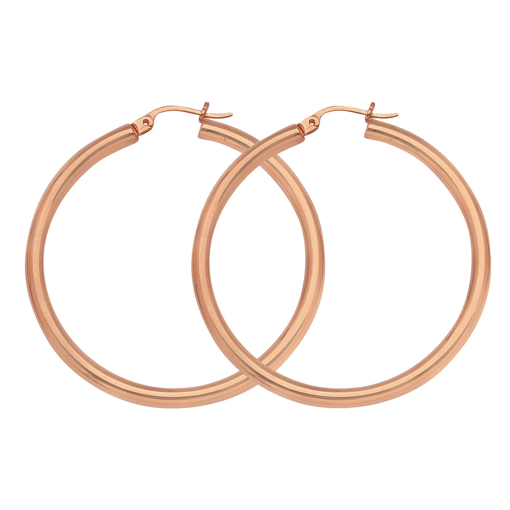 "14K Rose Gold 3 mm Polished Round Hoop Earrings 1"" Diameter"