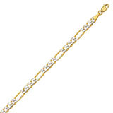 14K Two Tone Yellow & White Gold 3.9 Pave Figaro Chain in 18 inch, 20 inch, 22 inch, 24 inch, & 30 inch
