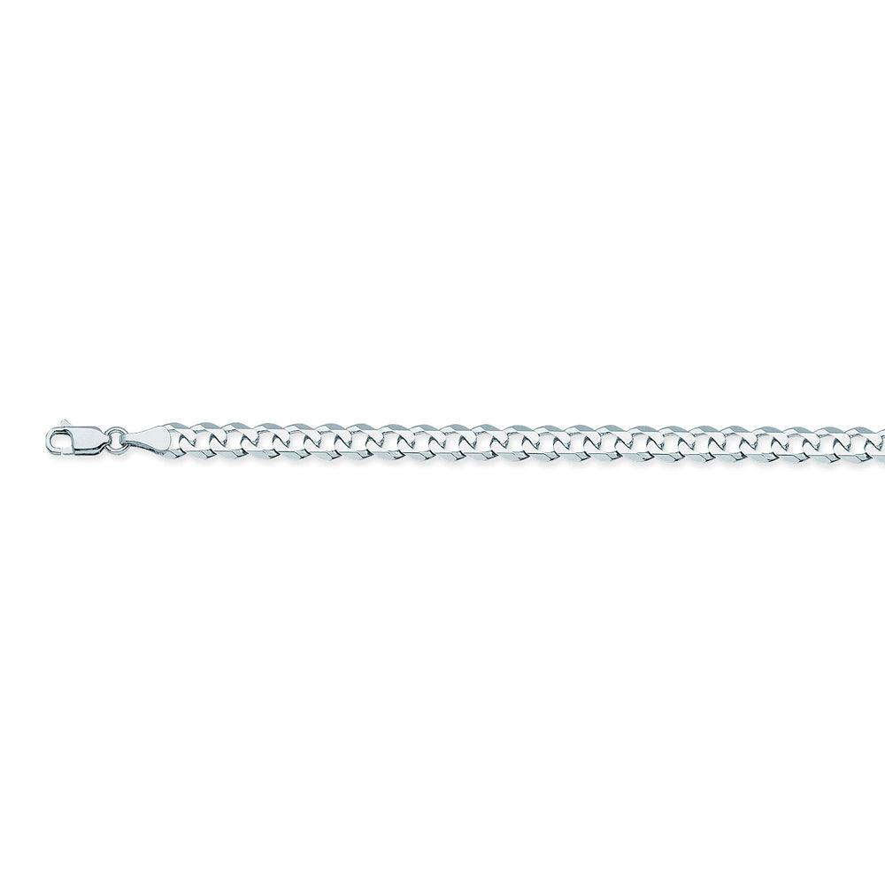 14K White Gold 5.2 Curb Chain in 8.5 inch, 18 inch, 20 inch, 22 inch, 24 inch, 30 inch