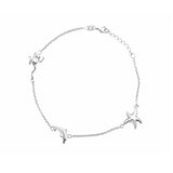 "Sterling Silver Frog, Dolphin & StarFish Nautical Stations Anklet 10"" length"