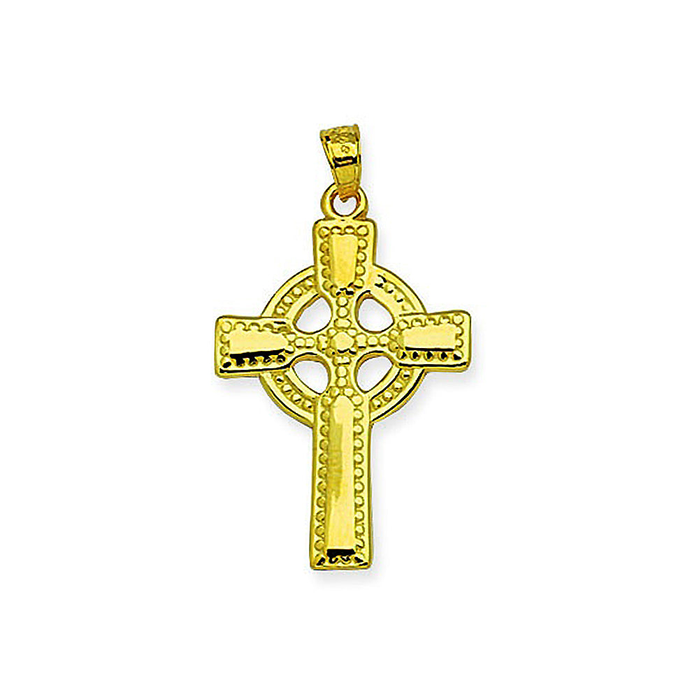 14K Yellow Gold Celtic Style Cross Pendant