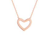 "14K Rose Gold Heart Necklace. Adjustable Diamond Cut Cable Chain 16"" to 18"""