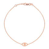"14K Rose Gold Evil Eye Bracelet. Adjustable Diamond Cut Cable Chain 7"" to 7.50"""