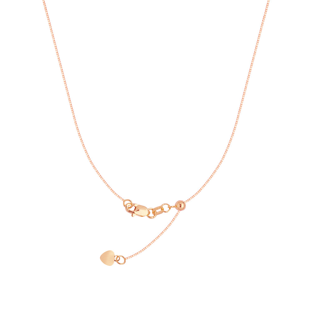 "22"" Adjustable Box Chain Necklace with Slider 14K Rose Gold 0.96 mm 4.05 grams"