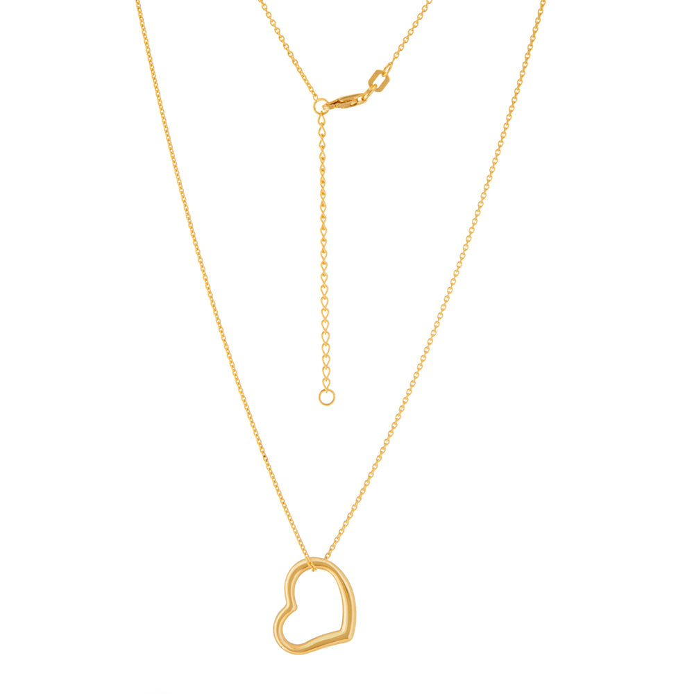 "14K Yellow Gold Open Heart Necklace. Adjustable Cable Chain 16""-18"""