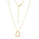 14K Yellow Gold Open Heart Necklace. Adjustable Cable Chain 16