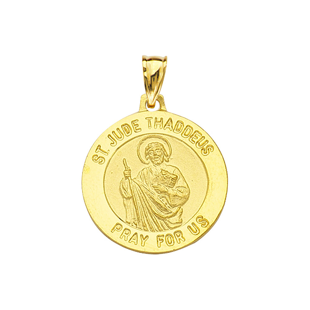 14K Yellow Gold Saint Jude Round Medal With Text Saint Jude Thaddeus Pray For us