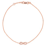 14K Rose Gold Cubic Zirconia Infinity Bracelet. Adjustable Diamond Cut Cable Chain 7