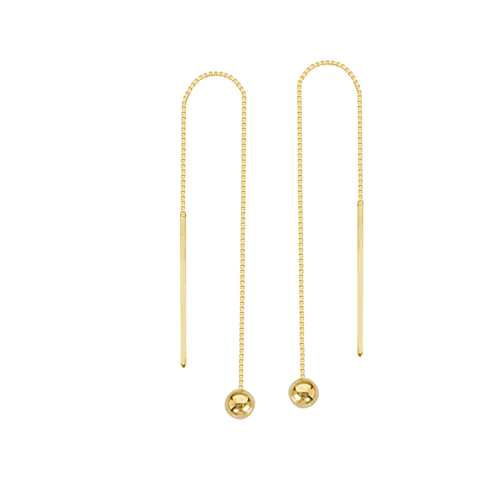 14K Yellow Gold 4MM Ball Threader Earring