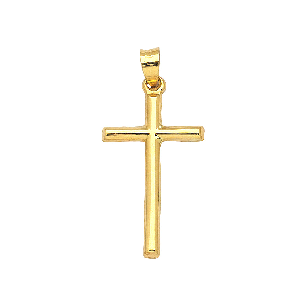 14K Yellow Gold 3D Style Hollow Cross Pendant