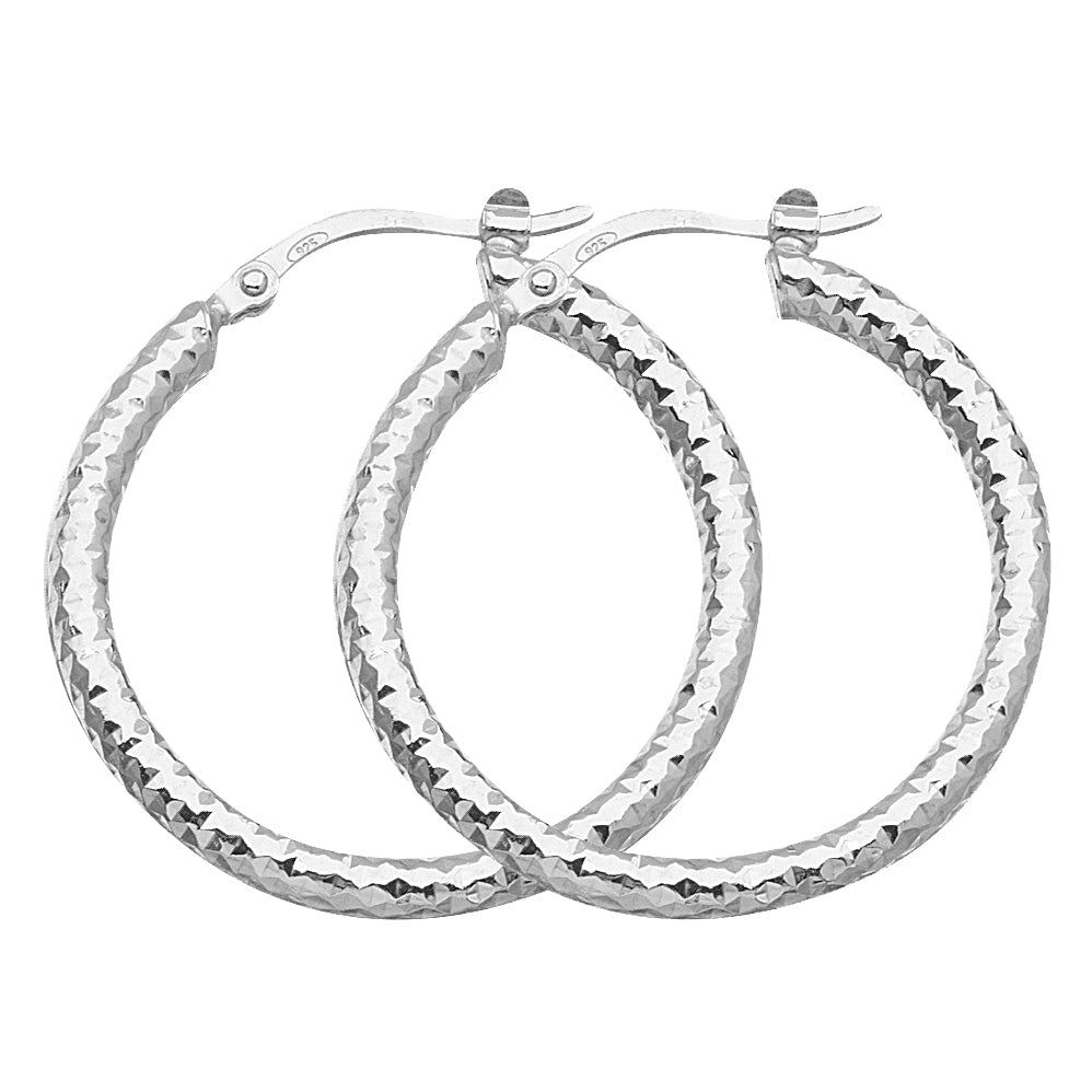 "925 White Sterling Silver 2 mm Full All Around Diamond Cut Hoop Earrings 1.2"" Diameter"