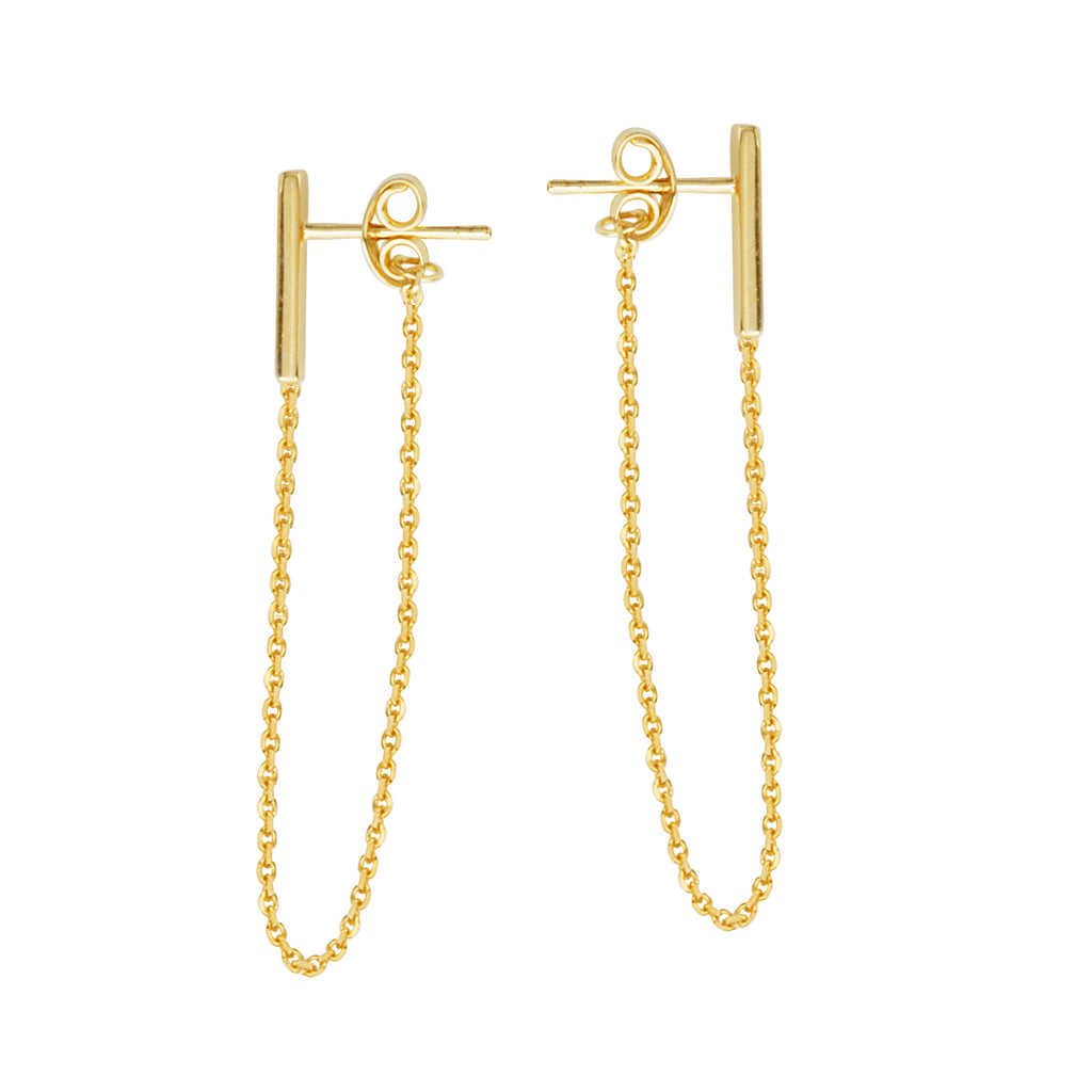 14K Yellow Gold Chain Threader Earring