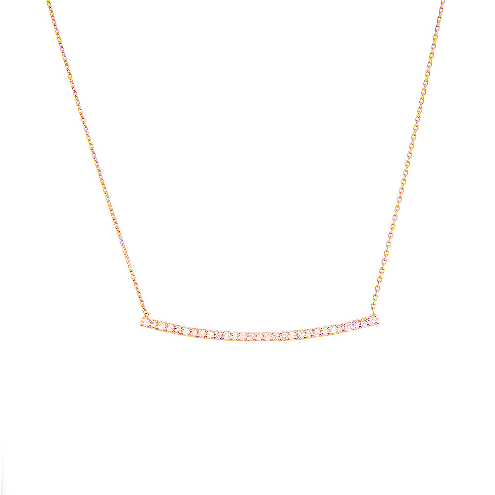 "14K Rose Gold Bar Diamond Necklace. Adjustable Cable Chain 16"" to 18"""
