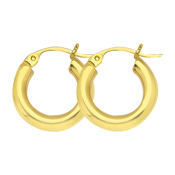 "14K Yellow Gold 3 mm Polished Round Hoop Earrings 0.6"" Diameter"
