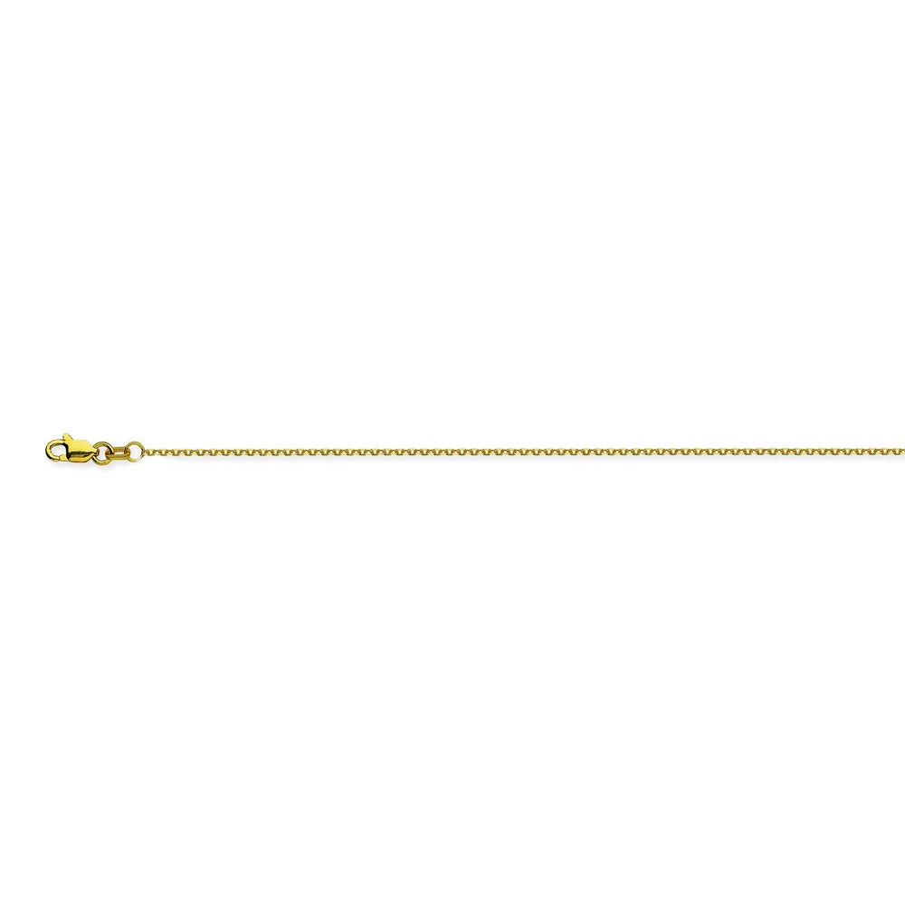 14K Yellow Gold 0.8 Diamond Cut Cable Chain in 16 inch, 18 inch, 20 inch, & 24 inch