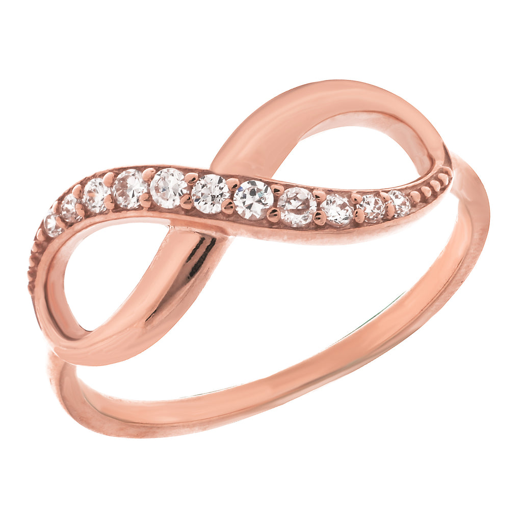 14K Rose Gold Infinity Cubic Zirconia Ring