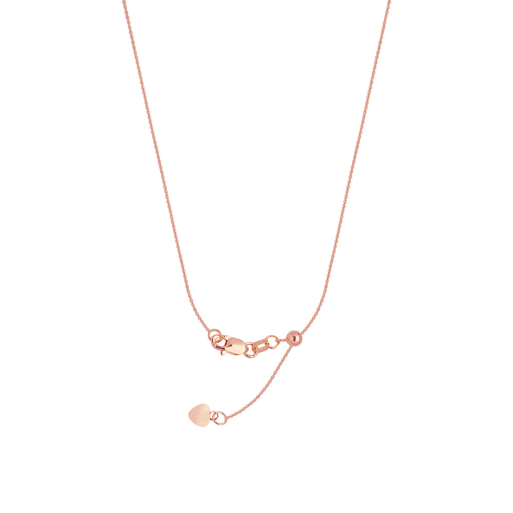 "22"" Adjustable Cable Chain Necklace with Slider 925 Sterling Silver Rose Gold Plated 0.9 mm 1.7 grams"