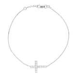 14K White Gold Cubic Zirconia Sideways Cross Bracelet. Adjustable Diamond Cut Cable Chain 7