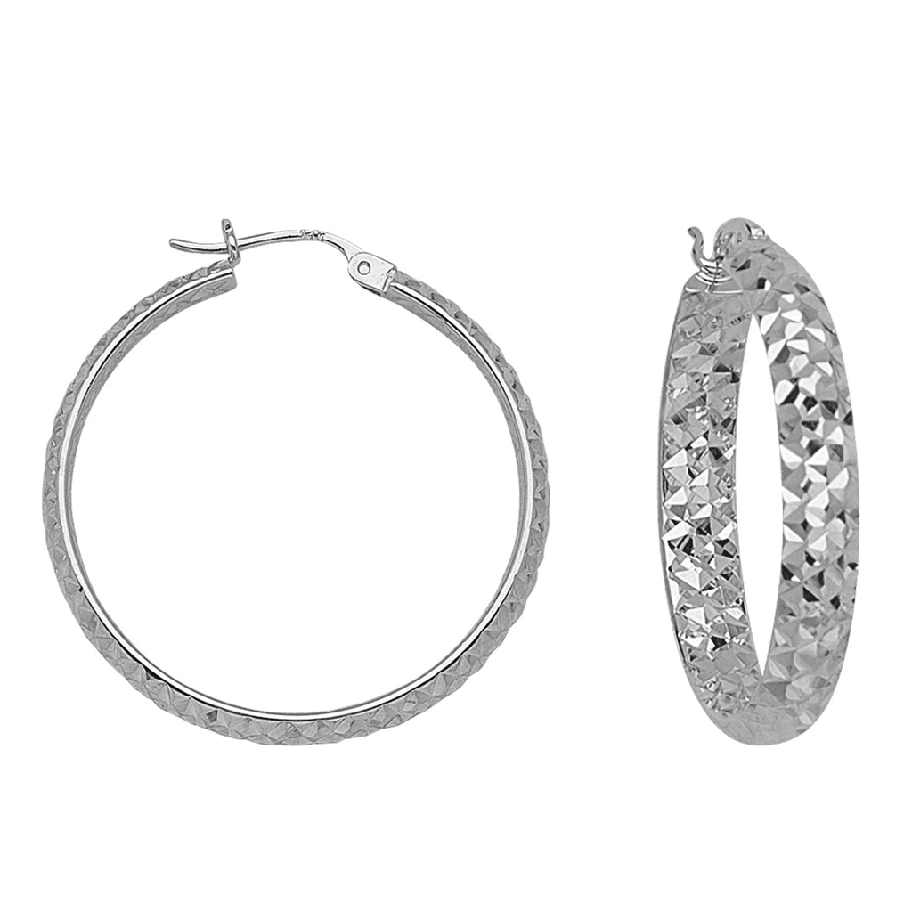 "925 White Sterling Silver 3 mm Inside & Outside Diamond Cut Hoop Earrings 1.2"" Diameter"